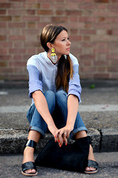Julia Lundin - By Malene Birger Earrings, Gap Shirt, Gap Jeans - Neon Drops