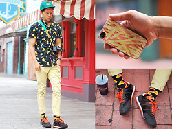David Guison - Zero Gravity Fries Phone Case, Topman Pizza Socks, Forever 21 Sneakers, Don't Blame The Kids Printed Button Down - Fries & Pizza