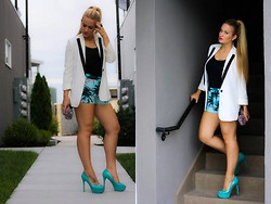 Kimberley Pavao - Brian Atwood Blue Heels, Old Navy Tank, Forever 21 Blazer, Forever 21 Shorts, Rebecca Minkoff Clutch, Wildfox Couture Ring - Miami Deamin'