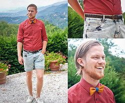 Aron Bjarnason - Selected Red Shirt, Zara Denim Shorts, My Brother Markús Bow Tie, My Father Inlaw Leather Belt - Summer Madness