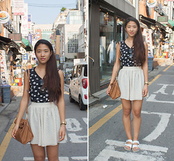 Melanie L - Zara Shirt, American Apparel Skirt, Birkenstock Sandals - Out and About in Seoul