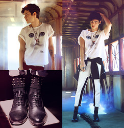 Vini Uehara - Jane And Rye Necklace, B. Luxo Vintage Cat T Shirt, Doc Dog Jacket, Guidomaggi Castro, Choies Color Blocked Relaxed Pants In White, Choies Stocking With Rivet In Black - You're gonna hear me roar