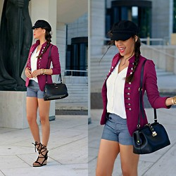 Tamara Chloe - Forever 21 Shorts, Supertrash Bag, H&M Hat, Geox Espadrilles - Burgundy Military