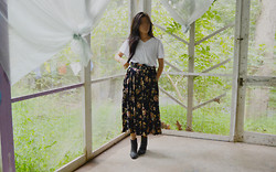 Tenzin Tsepel - Top, Thrifted Skirt, Thrifted Belt, Lucky Brand Boots - SPONTANEOUS SNAPSHOT