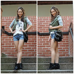 Kimberly Kong - Deb Military Jacket, Foley + Corinna Mid City Tote, Bdg High Top Sneaker, Ag Jean Short Shorts, Baublebar Layered Spike Necklace, Aeropostale Graphic Tee - Occasion: Back-to-School