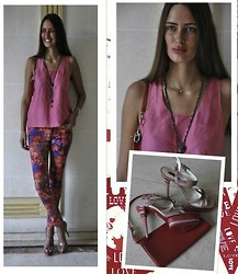 Amina Allam - Camaieu Silk And Lace Top, Melany Brown London Necklace, Cesare Piacotti Sandals, Louis Vuitton Clutch, New Yorker Flower Print Jeans - Last day of August