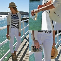 Jess Rodgers - Bec & Bridge Bamboo Stripe Tee, Bec & Bridge White Jeans, Siren Multi Strap Heels, Bardot Perspex Clutch - Nautical