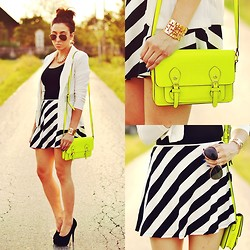 Pam S - Romwe Skirt - Striped & neon