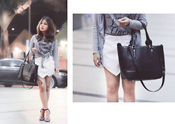Fhenny Z - Forever 21 Grey Tee, White Skort, Cotton On Grey Cardigan, Zara Silver Black Heels, Charles And Keith Black Bag - You only live once