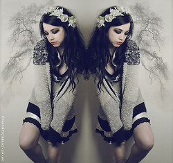 Natanya Waybourne - Rouge Pony Flower Crown, Primark Striped Cardigan, Flutterbydaisy Upcycled Dress - Tree Wings...