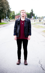 Martin Bohm - Dr. Martens Boots, Cheap Monday Pants, These Glory Days T Shirt, Human Scales Leather Jacket - Livet Deluxe.