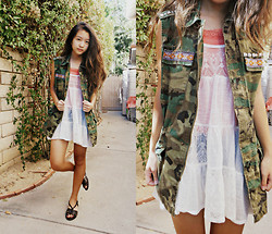 Angela Le - Urban Outfitters Camo Vest, Aeropostale Lace Top - A belle to remember.