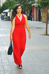 Amanda R. - Modcloth Red Maxi Dress, Bought In Toledo Necklace, Lacoste Bag, Lola Cruz Wedges - Rosso Valentino