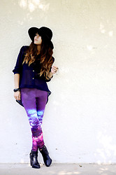 Faye Danielle - Oasap Galaxy Leggings, Shoedazzle Hailee, Forever 21 Wide Brim Hat - Can't seem to get over it