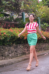 Valentine Gonzaga - Redhead Pink Stripes Blouse, Redhead Green Skirt, Charles & Keith Beige Wedges, Candies Pink Belt - Berry Pink