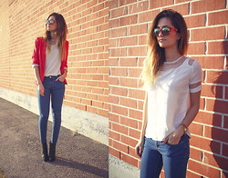 Maria L. - Vans Sunglasses, Sheinside Shirt, Zara Jeans, Bianco Shoes, H&M Blazer - Red bricks