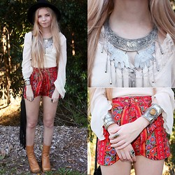 Caitlan Hammond - Vintage Paisley Shorts, And That Cuff, Elephant Choker Necklace, Vintage Beige Blouse, Vintage Boots - Bohemian rhapsody