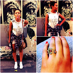 Kayla-Joleen D. - Spitalfields Market Owl Ring, Converse White, Vintage Shirt, Topshop Dress - East London