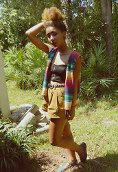 Nadja A. - Thrifted Rainbow Vest, Pacsun Bralet, Forever 21 Highwaist Brown Shorts, Urban Outfitters Flats - AZTEC SUNRISE