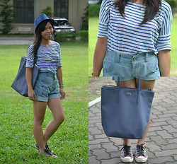 Pauline Cruspero - Dazzle Cuts Blue Fedora Hat, Bayo Blue And White Striped Top, Bugis Street High Waist Shorts, Lacoste Lavender Shopping Bag, Converse Purple Sneakers - Kalsada PH