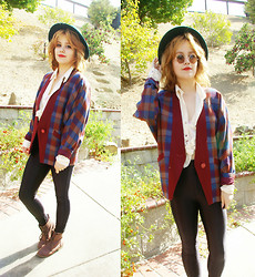 Allison K - American Apparel Disco Pants, Mother Plaid Cardigan, Forever 21 Button Up, Forever 21 Boots - Old Geezer