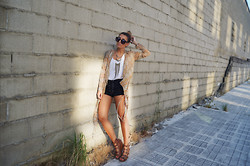 L A - Oasap Chiffon Shirt, Tripp Nyc Lace Shorts, Topshop Wedges - GLORY SUNDAY