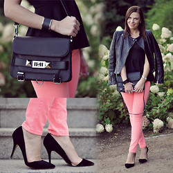 Renata M.. - Mohito Heels, Sheinside Top, Mizensa Bag, New Yorker Pants, Zara Leather Jacket - Neon pink and leather