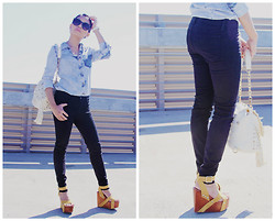 Now That's Chic - Zara Denim Top, J Brand Skinny Jeans, Jeffrey Campbell Platforms - #Little Black Jean