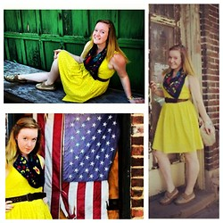 E.B. Berger - Old Navy Yellow Lace Dress, Free Bin Floral Scarf, Factor Five Vintage Leather Belt, Factor Five Vintage Purse, Goodwill Sperries - Remember the moment.