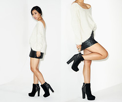 Jenny Ong - Nasty Gal Boots, Nasty Gal Quilted Skirt - Shoe Cult