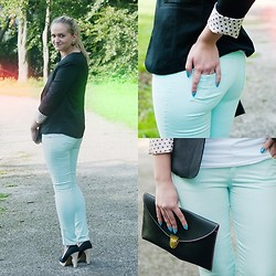 Angelika Martko - Chicnova Pants, Ebay Jacket, Flats, Ebay Bag - Black and mint
