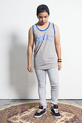 James D - H&M Snapback Cap, Thrift Shop Graphic Tank, Cheap Monday Jeans, Dc Shoes - Monday Shit