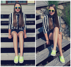 Klára P. - Vans Neon Sneakers, H&M Black High Waisted Shorts, Claire's Neon Sunglasses, H&M Stripped Top - All the Wrong Places