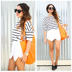 Daniela Ramirez - Romwe Stripe Shirt, Sheinside Skirt, Ann Taylor Shoes, Givenchy Bag - Orange and stripes