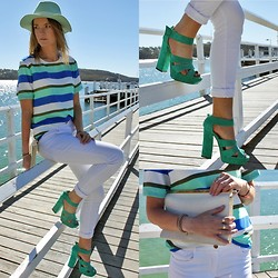 Jess Rodgers - Lack Of Color Miami Mint Fedora, Bec & Bridge Azura Tee, Siren Green Suede Heels, Bec & Bridge White Jeans, Colette Snake Embossed Clutch - Azura Brights