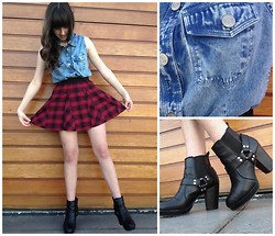 Little Skelter - Billabong Denim Dress, Jay Jays Plaid Pleated Skirt - Buttons and Buckles