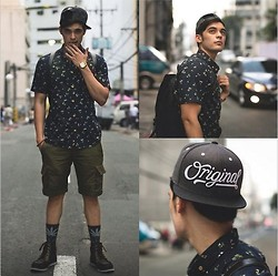 Robbie Becroft - Triffer Duffle Bag, Farah Vintage Button Down, Zara Shorts, Boxfresh Boots, Aesthetic Hype Snapback, Casio Watch, Huff Socks - Just Me and My Streets