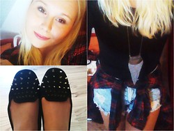 Rebecca S - Bershka Flats, H&M Basictop, Pull & Bear Shirt, Pull & Bear Shorts - Love me, love me, say that you love me...