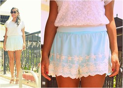 Kero P - Vintage Lace Blouse, Splash Mint Green Silk Shorts With Lace Overlay - A Delicate Aura