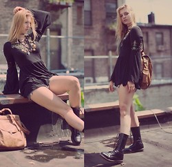 Jessie Jensen - Free People Lace Up Top, Vintage Leather Bag, Dr. Martens Dr.Martens Calf High Boots - Goodbye Summer