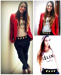 Rafaela Bicas - Renner Red Blazer, Céline T Shirt, Maxi Nacklace, Belt, Boyfriend Pants, Jorge Bischoff High Heels - Needing a new camera