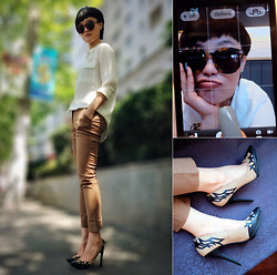Wolfie Chen - Equipment White Blouse, Frontrowshop Sunnies, Jeffrey Campbell Pump - A TOUCH OF HAVANA