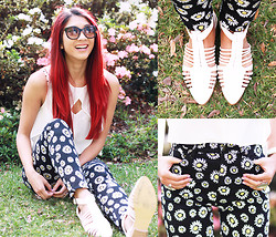 Jessie Khoo - I Like Wolves Daisy Print Jeans, Spurr Coggles, Minkpink Crop Top, Karen Walker Sunglasses - Lazy Daisy