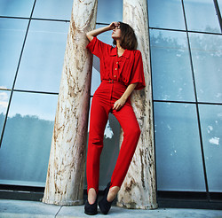 Mira Berglind - Weekday Shirt, Humana Second Hand Pants, & Other Stories Heels - A RED SEPTEMBER