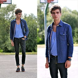 "Matthias C. - Quilted Shirt, Fashionology Necklace, Cheap Monday Jeans, Navy Suede Shoes, Topshop Bracelet - ""Stadion"""