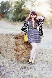Ester Durães - Eclectic Eccentricity Heart Ring, Electric Frenchie Stripes Dress, Romwe Aztec Cardigan, C&A Yellow Ring, Zara Bag, Lanidor Shoes - Meet me on the Equinox