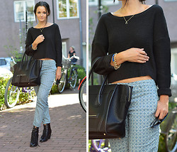 Josefine G - H&M Pants, Chiquelle Bag - Black with pattern