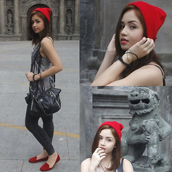 Nicole Aguinaldo - Sm Accessories Beanie, Forever 21 Gray Top, Kenneth Cole Studded Bag, The Ramp Bangles, Forever 21 Gray Leggings, Cotton On Red Flats, Forever 21 Gold Rings - Charmed