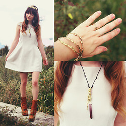 Rachel-Marie Iwanyszyn - Rila Nyc Crown, Cameo The Label Dress, Rila Nyc Crab Claw Ring, Rila Nyc Necklace, Acne Studios Pixel Boots - RILA. (giveaway!)