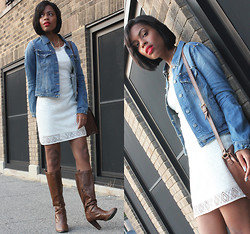 Nailah Ali - Express Express: Geometric Lace Dress (On Sale Now For $48.93), Forever 21 21: Spiked Denim Jacket ($34.80) - Re-Style Wednesday! Lace, Denim & Boots!
